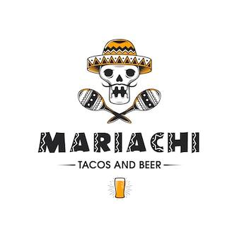 Modèle de logo de bière de crâne mexicain