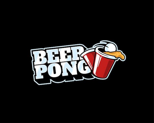 Modèle de logo de bière-pong amusant