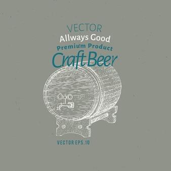 Modèle de logo de bière. vector illustration de baril de bière dessinés à la main.