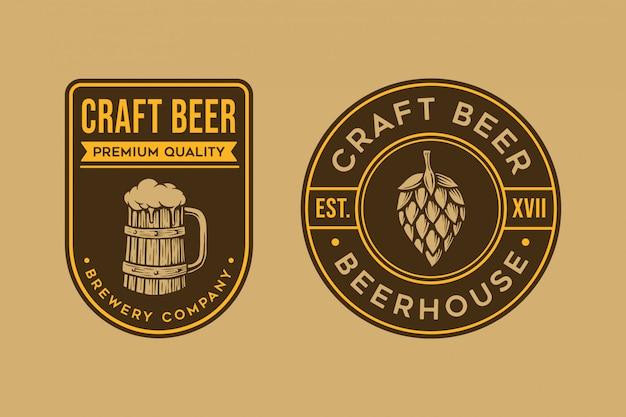 Modèle de logo de bière vintage
