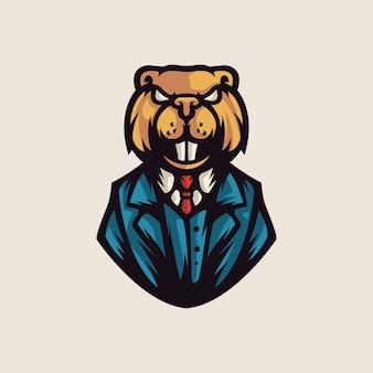 Modèle de logo big beaver boss