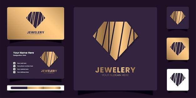 Modèle de logo de bijoux en diamant doré logo monogramme de diamant avec modèle d'identité d'entreprise