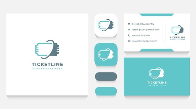 Modèle de logo de billet en ligne et carte de visite
