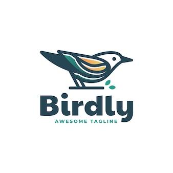 Modèle de logo bird gradient line art style