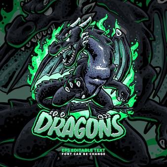 Modèle de logo black dragons
