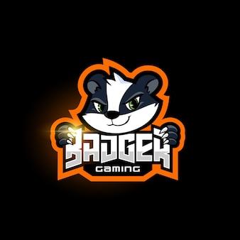 Modèle de logo de blaireau mascotte sport équipe