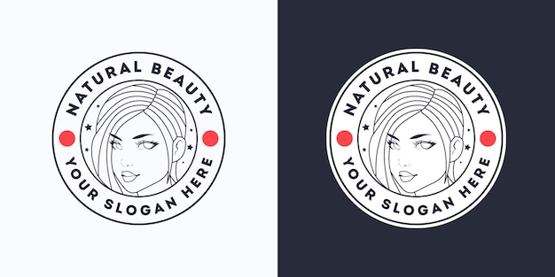 Modèle logo blanc beauté femme salon de coiffure