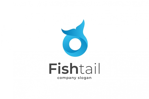 Modèle de logo bleu lettre o queue de poisson