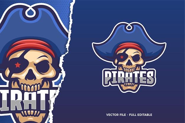 Modèle de logo bleu pirate e-sport