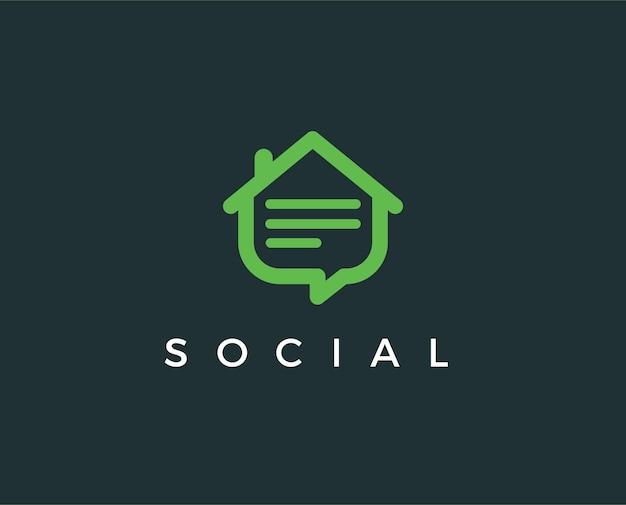 Modèle de logo de blog à domicile minimal