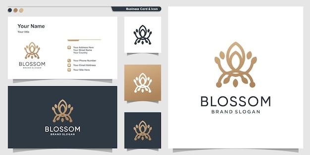 Modèle de logo blossom avec concept d'art de ligne créative vecteur premium