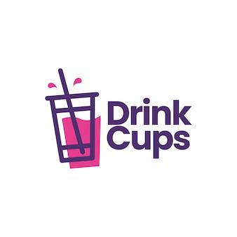 Modèle de logo de boisson gazeuse d'emballage de tasse de boisson