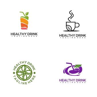 Modèle de logo de boisson saine fraîche et colorée