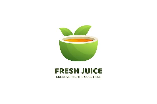 Modèle de logo de boisson saine de jus de fruits frais