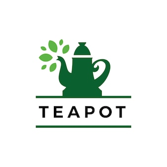 Modèle de logo de boisson temps feuille théière