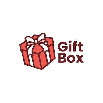 Modèle de logo de boîte-cadeau