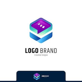 Modèle de logo de boîte de discussion