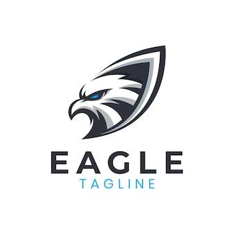 Modèle de logo de bouclier d'aigle génial