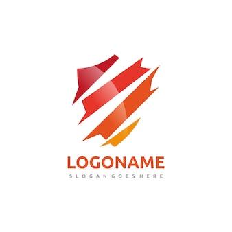 Modèle de logo bouclier coloré