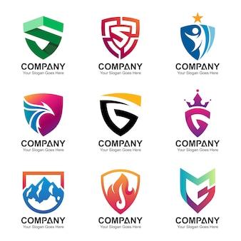 Modèle de logo de bouclier, jeu d'icônes de bouclier abstrait
