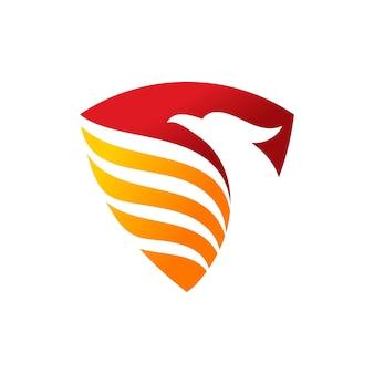 Modèle de logo de bouclier phoenix