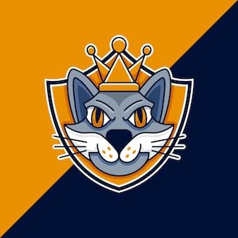 Modèle de logo de bouclier de roi chat