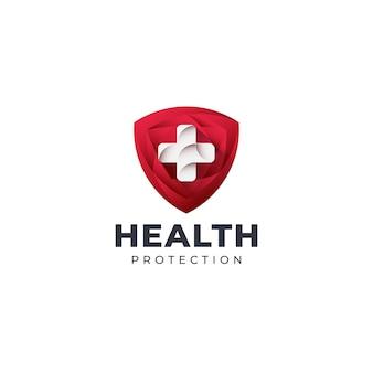 Modèle de logo de bouclier de santé