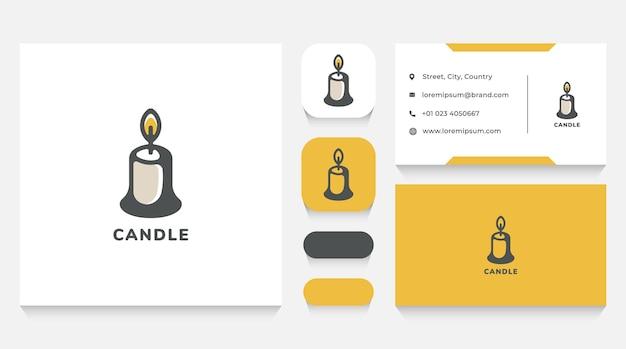 Modèle de logo de bougie fondue et carte de visite