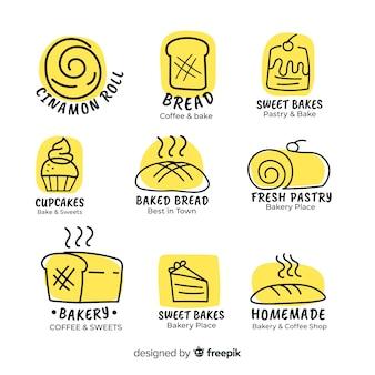 Modèle de logo de boulangerie dessiné à la main