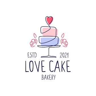 Modèle de logo de boulangerie de mariage de gâteau d'amour