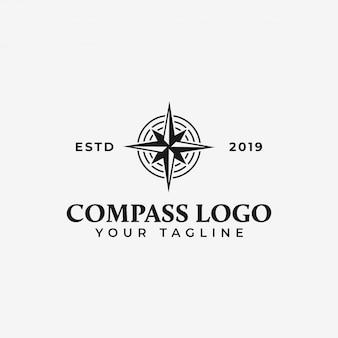 Modèle de logo boussole, navigation, aventure