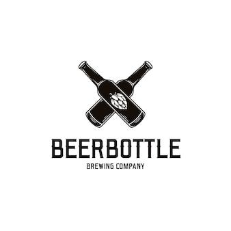 Modèle de logo de bouteille de bière