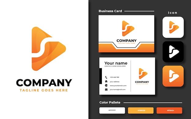 Modèle de logo de bouton de lecture avec carte de visite