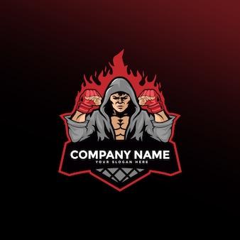 Modèle de logo de boxe de combattant