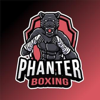 Modèle de logo de boxe panthère