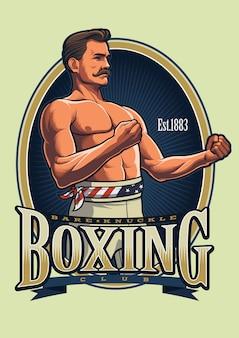 Modèle de logo de boxe vintage