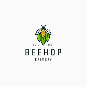 Modèle de logo de brasserie d'abeille et de houblon