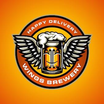 Modèle de logo de brasserie d'ailes