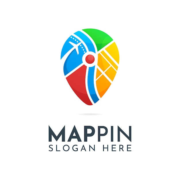 Modèle de logo broche carte colorée
