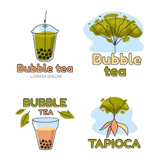 Modèle de logo bubble tea