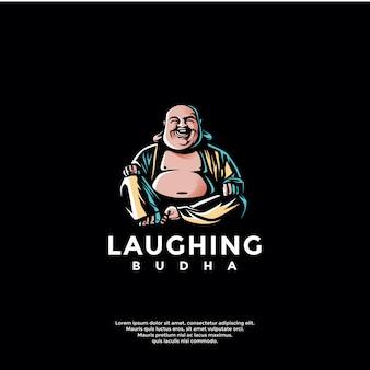 Modèle de logo budha rire