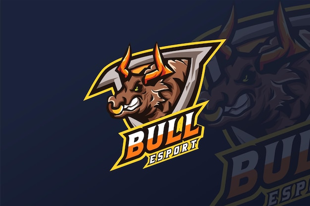 Modèle de logo bull- esport