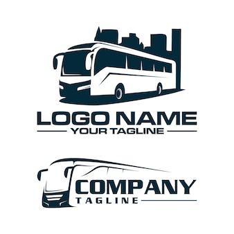 Modèle de logo de bus et de ville