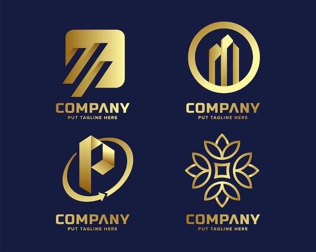 Modèle de logo business luxe élégant et élégant avec forme abstraite
