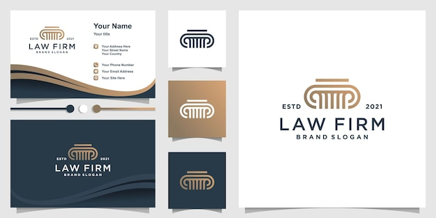 Modèle de logo de cabinet d'avocats avec un style créatif vecteur premium