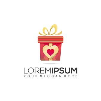 Modèle de logo cadeau love or rouge