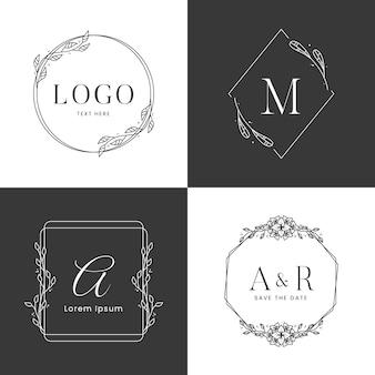 Modèle de logo de cadre floral en noir et blanc