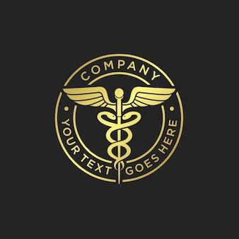 Modèle de logo de caducée médical or