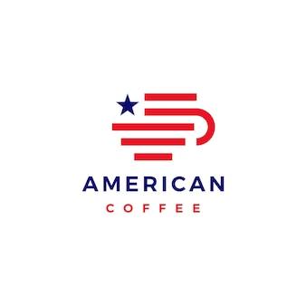 Modèle de logo de café américain