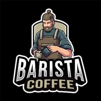 Modèle de logo de café barista